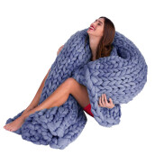 BESSKY 100*120cm Hand Chunky Knitted Blanket Thick Wool Bulky Knitting Throw_