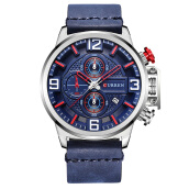 PEKY 8278 Men Watch Top Brand Luxury Date Leather Band Chronograph Quartz Wrist Watches Relogio
