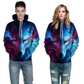 BESSKY Unisex Couples Lovers 3D Sky Wolf Print Loose Hoodies Blouse Tops Shirt _