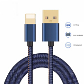 DELIVE 100cm Lightning Cable for iPhone X 8 7 6 6s Plus Denim Braid Fast Charging Cable Blue