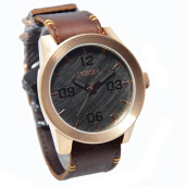 Nixon Corporal Gunmetal Leather Strap Mens A2432001-1746D48CKTRG Analog Coklat Rosegold Brown