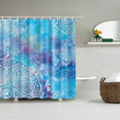 Mandala Watercolor Waterproof Shower Curtain