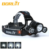 BORUIT 6000Lm 3X XM-L T6+2 R5 LED Headlamp Headlight Torch+AC/USB Charger +2* 18650 li-ion rechargeable battery