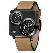 Lee Watch Dual Time Jam Tangan Lee Metropolitan Gents Kulit Cokelat M116DBL5-17 Brown