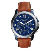 Fossil Grant Chronograph Blue Dial Brown Leather Strap Watch [FS5151]
