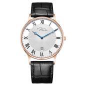 Jonas Verus Men Quartz White Pattern Dial Black Leather Strap [Y01753-Q5.PPWLB]