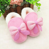 Saneoo Ribbon Prewalker Baby Shoes Pink 3-6 bulan