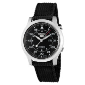 Seiko 5 Automatic 21 Jewels Black Military Nylon Strap [SNK809K2]
