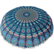 BESSKY Large Mandala Floor Pillows Round Bohemian Meditation Cushion Cover Ottoman Pouf_