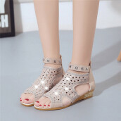 BESSKY Spring Summer Ladies Women Wedge Sandals Fashion Fish Mouth Hollow Roma Shoes_