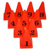 Alat Latihan Nomor Penanda Jarak - Training Number Cone Oraga 9 Inch Set Of 10 Orange