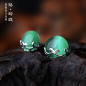 Luo Ling Long Silver semi-hollow pattern green agate studs