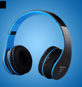 Ins AI P79 Wireless Bass Head-mounted Bluetooth headphones For Apple Android phones and IPAD -White&Blue
