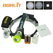 Boruit Upgraded B11 XM-L T6 LED Headlamp Rechargeable Zoomable Head Light Headlight Torch 18650 PCB Batteries Micro USB Green