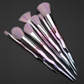 Fashionmall 7pcs Rainbow Unicorn Makeup Brushes Foundation Powder Eyeshadow Blush Make up Brushes Light Purple