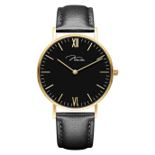 Jonas Verus Minimalist Collection Men Black Dial Black Leather Strap [Y01646-Q3.GGBLB]