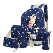 BESSKY 4 Sets Women Girl Rabbit Animals Travel Backpack School Bag Shoulder Bag Handbag_