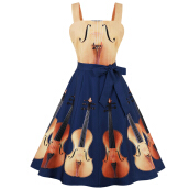 ZAFUL Women Violin Print Waist Tie Wide Strap Apron Patchwork Design Vintage Music Party Vintage Plus Size Swing Dress