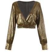 Fashionmall Zaful Sexy Women Deep V Neck Crop Top Metal  Leather Blouse Short Top