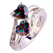 Fashion Lover Jewelry Heart Cut Rainbow White Topaz Gemstone Ring
