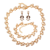 Sparkling Clear Zirconia Golden Tone Imitation Pearl Necklace Stud Earring Bracelet Party Set