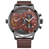 MINIFOCUS imports original sports men's dual time zone multi-function large dial Swiss army watch