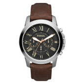 Fossil Grant Chronograph Black Dial Brown Leather Strap Watch [FS4813]