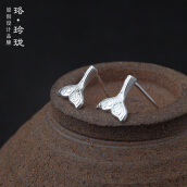 Luo Ling Long Silver mermaid tail studs