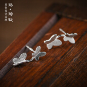 Luo Ling Long Silver butterfly flower studs