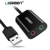 UGREEN USB Audio Adapter External Stereo Sound Card With 3.5mm Headphone And Microphone Jack For Windows, Mac, Linux, PC, Laptops, Desktops, PS4 (Black)