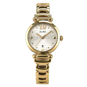 Alba Ladies Silver Pattern Dial Gold Stainless Steel Strap [AH7M66X1]