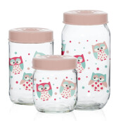 HEREVIN Decorated Canister Set-Owl Set of 3