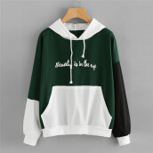 BESSKY Womens Letters Long Sleeve Hoodie Sweatshirt Hooded Pullover Tops Blouse_