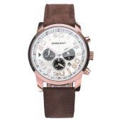 SWISS NAVY Chronograph Men White Dial Dark Brown Leather Strap [8356MRGWHBN]
