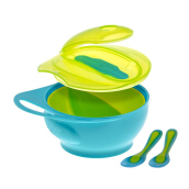 Brother Max Easy Hold Weaning Bowl Set Blue/Green | Set Alat Makan Anak