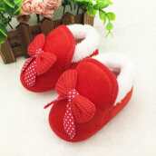 Saneoo Ribbon Prewalker Baby Shoes Red 3-6 bulan