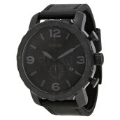 Fossil Nate Chronograph Black Leather Strap [JR1354] Black