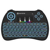 MantisTek® MK2 2.4GHz Wireless Colorful Backlit Mini Keyboard Air Mouse with Touchpad Black