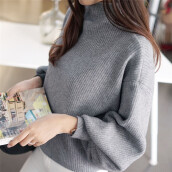 BESSKY Women Lantern Sleeve Knit Sweater Jumper Loose Turleneck Outwear Top Blouse _