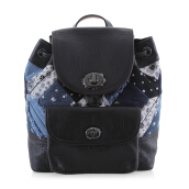Coach 37743 Blue Mini Turn Lock Rucksack Canyon Quilt Denim Leather Backpack Black (COA01640B)