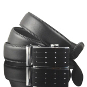Fashionmall Men's automatic buckle leather belt business and leisure travelers 120cm Black