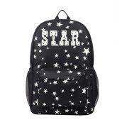 BESSKY Unisex Light Preppy Teenagers Noctilucent Cartoon School Bags Student Backpack_ Black