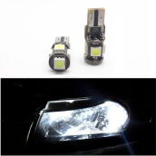 JMS - 1 Pair (2 Pcs) Lampu LED Mobil / Motor / Senja T10 w5w / Wedge Side Canbus 5 SMD 5050 White