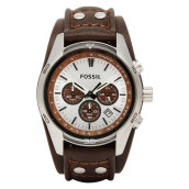 Fossil Coachman Chronograph White Dial Brown Leather Strap [CH2565]