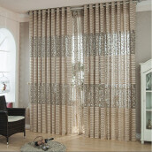 BESSKY Leaf Tulle Door Window Curtain Drape Panel Sheer Scarf Valances_ Khaki
