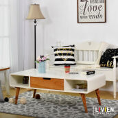 LIVIEN FURNITURE - Meja Tamu Laci Cubic Series - Coffee Table Brown