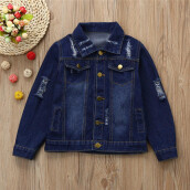 BESSKY Toddler Kids Baby Girls Clothes Hole Washed Denim Jeans Coat Jackets Outwear_