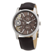 Fossil Leather Strap Mens  ME1098-2000D42CKTSL Automatic Mechanical Twist Coklat Silver