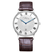 Jonas Verus Men Quartz White Pattern Dial Brown Leather Strap [Y01753-Q5.WWWLZ]