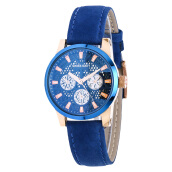 SWISS NAVY Ladies Blue Dial Rose Gold Case Blue Leather Strap [8310LRGBL]